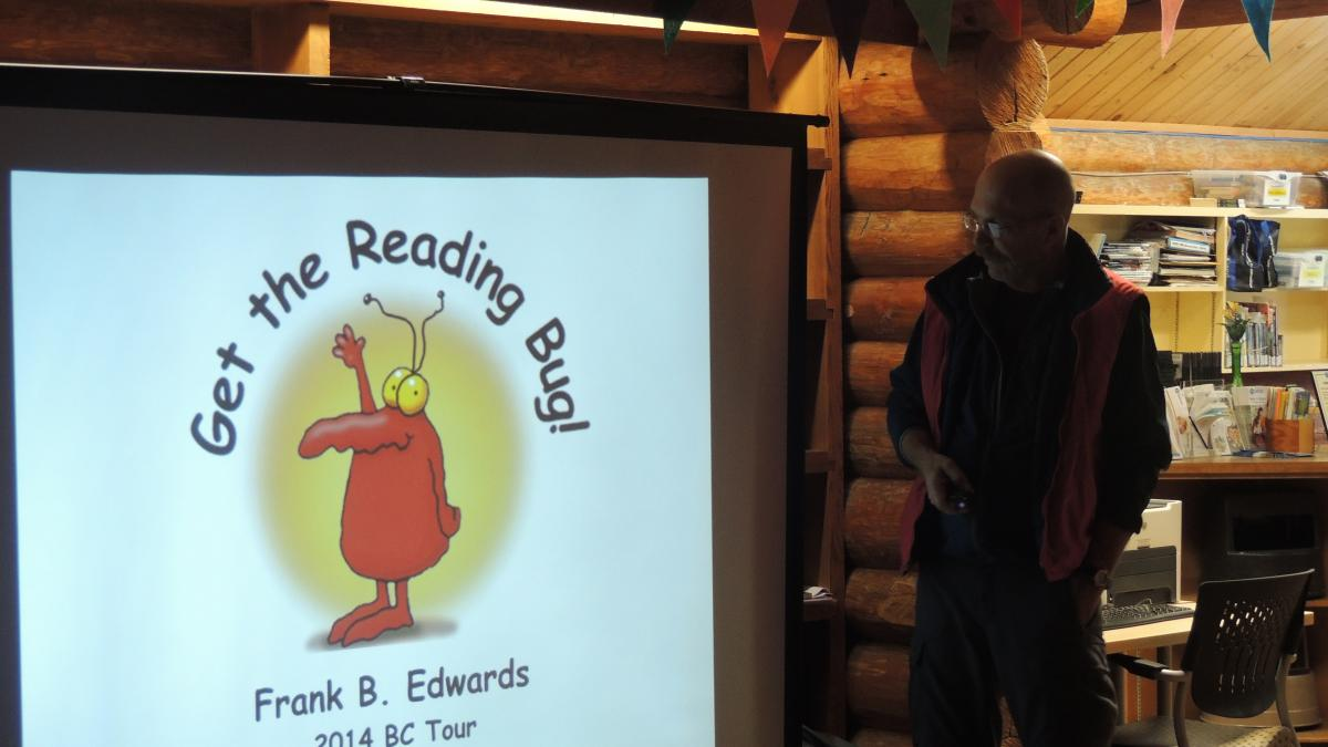 Children's author Frank Edwards reading at Vancouver Island Regional Library, Masset branch